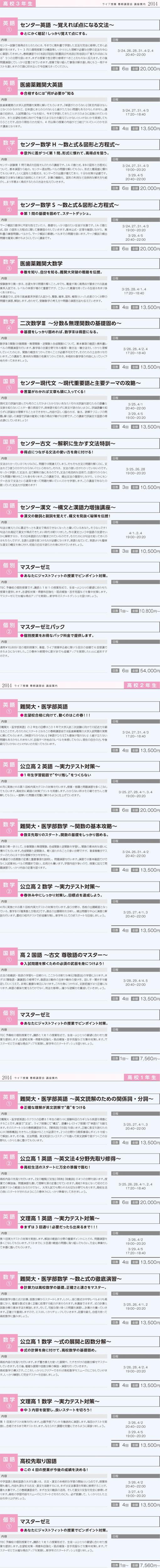 2014春期講習(高校部)